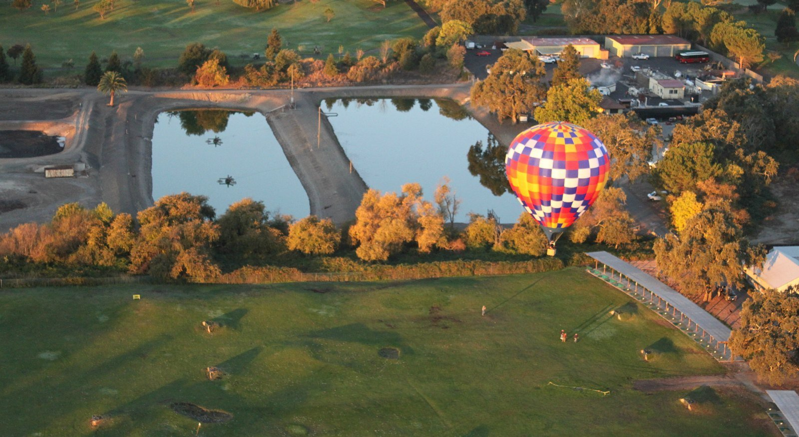 Hot air balloon flying low