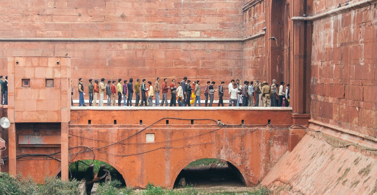 Waiting in line at Red Fort