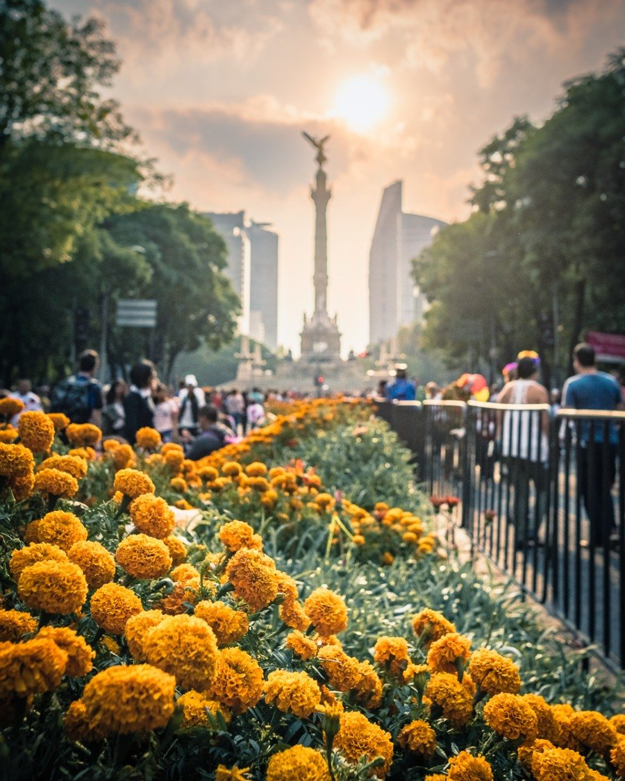 Flowers line the streets in Mexico City