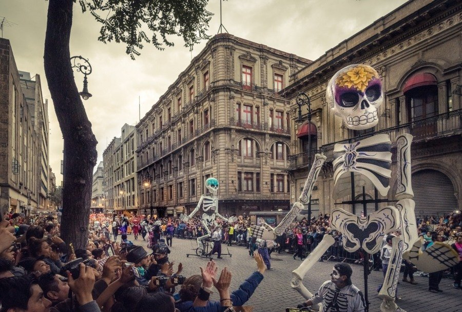 Giant skeletons in the Day of the Dead parade
